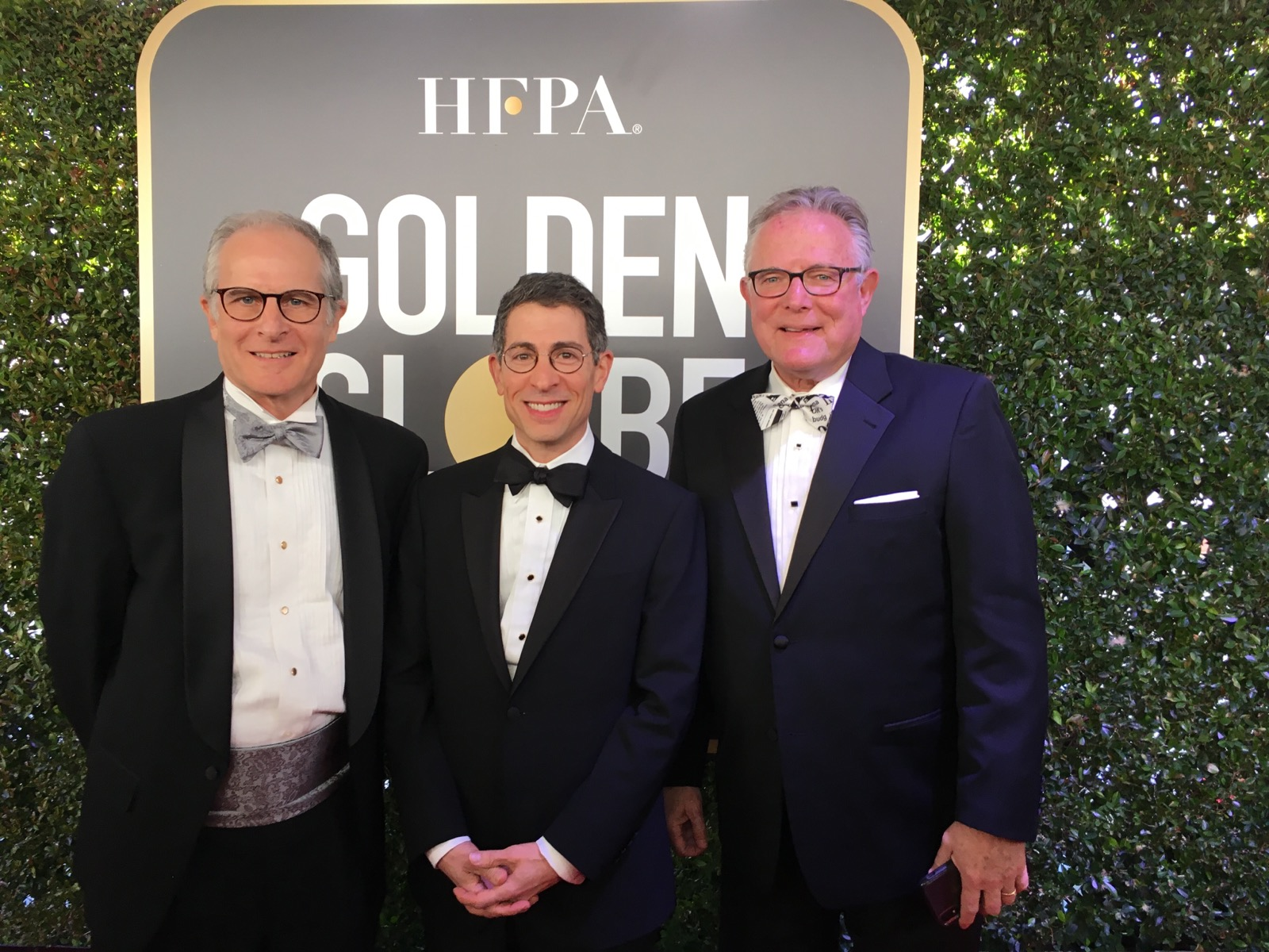 Reporters Committee Executive Director Bruce Brown, Reporters Committee Chairman David Boardman and David Sassoon, founder and publisher of InsideClimate News, pose at the 2019 Golden Globe Awards. The Reporters Committee for Freedom of the Press and InsideClimate News will receive a $1 Million grant from the Hollywood Foreign Press Association.