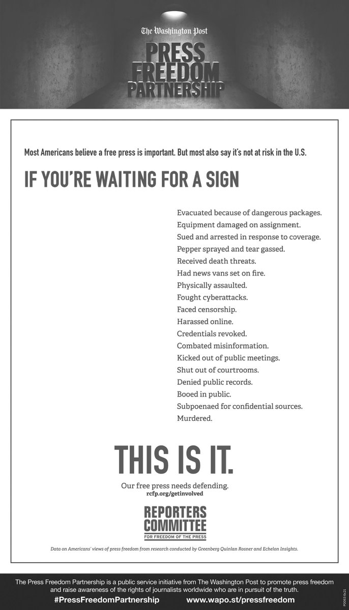 The Reporters Committee's full-page ad in The Washington Post. Most Americans don't see a threat to press freedom, but there are many reasons to be concerned and we've listed them out. The signs are there, and it's time to stand up for our free press.
