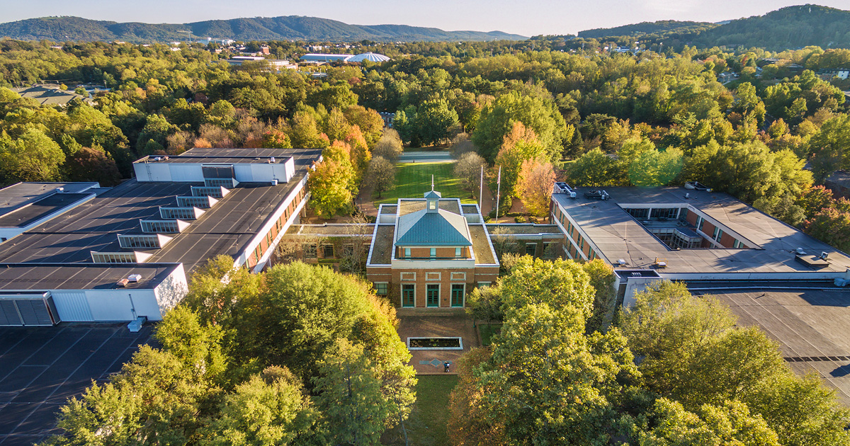 Photo of UVA Law School from aerial perspective.