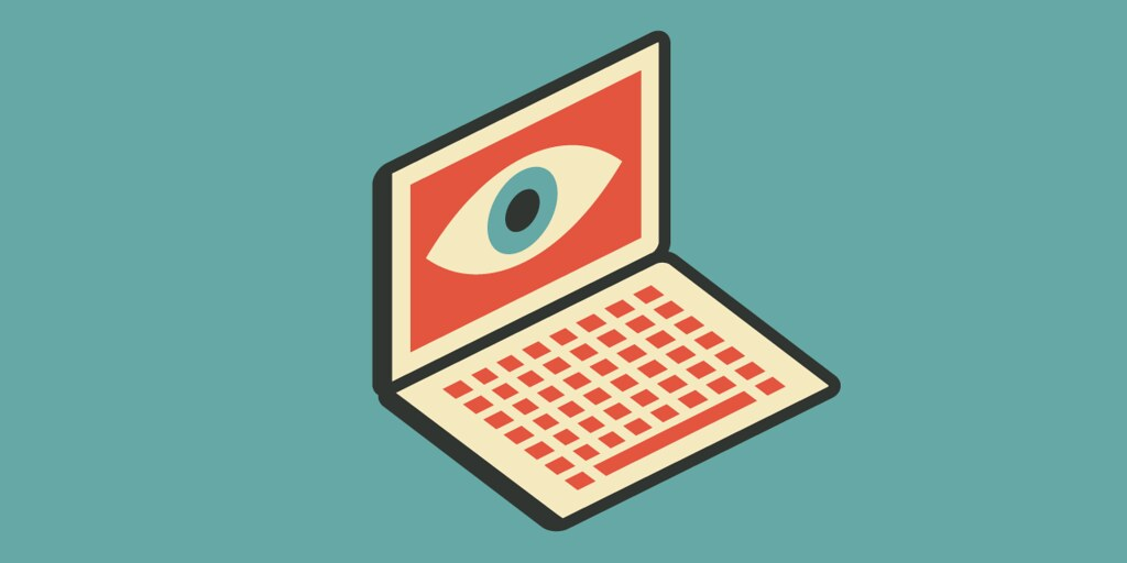 Digital illustration of a laptop with a watchful eye on the screen. Taken from Flickr.