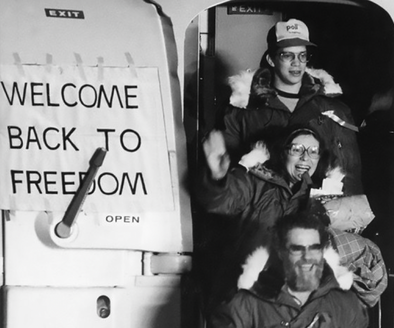 American hostages returning to the U.S. in 1981 after being released from Iran. (U.S. Air Force photo)