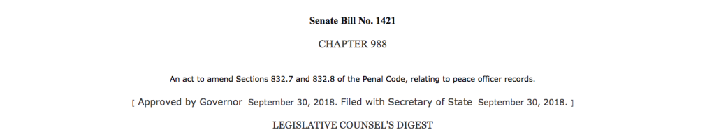 Photo of Senate Bill 1421. Screenshot from California Legislative Information.