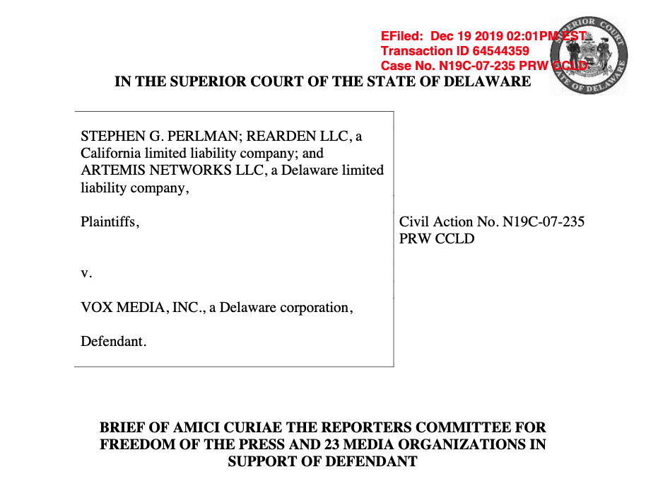 Photo of cover page of Perlman v. Vox Media amicus brief in defamation lawsuit