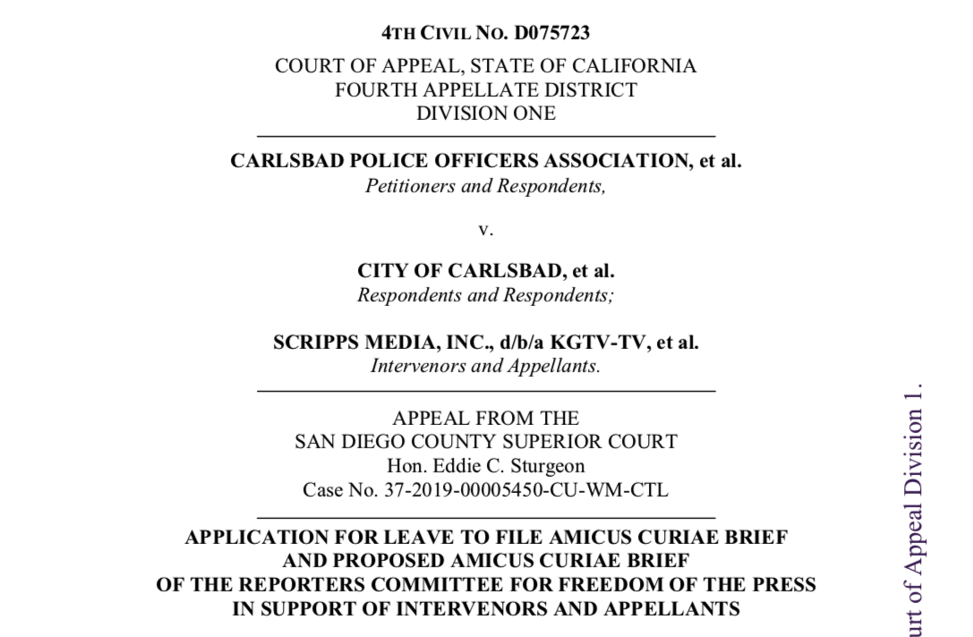 Cover page of RCFP amicus brief in City of Carlsbad v. Scripps Media