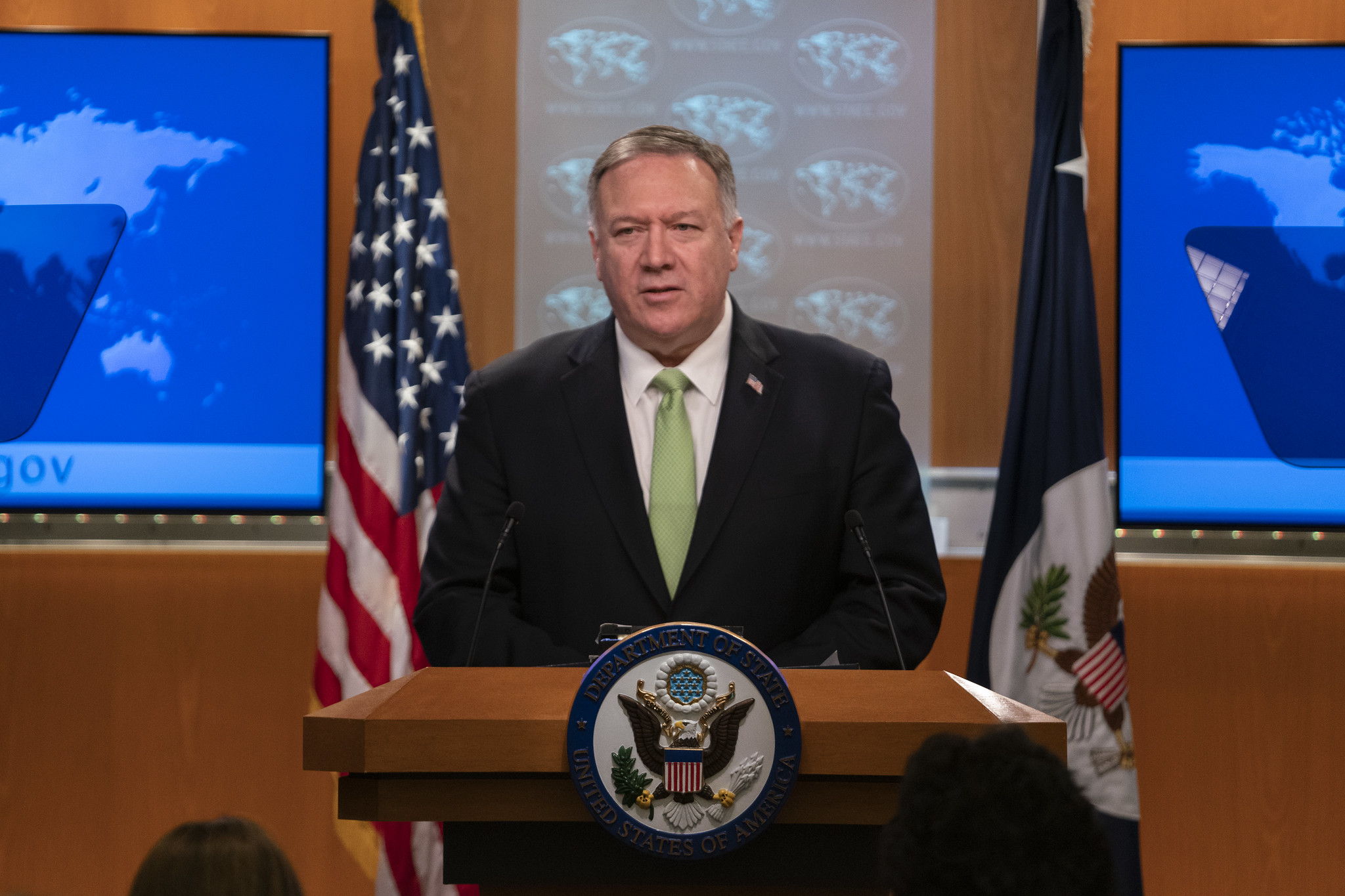 Secretary of State Mike Pompeo at a press conference