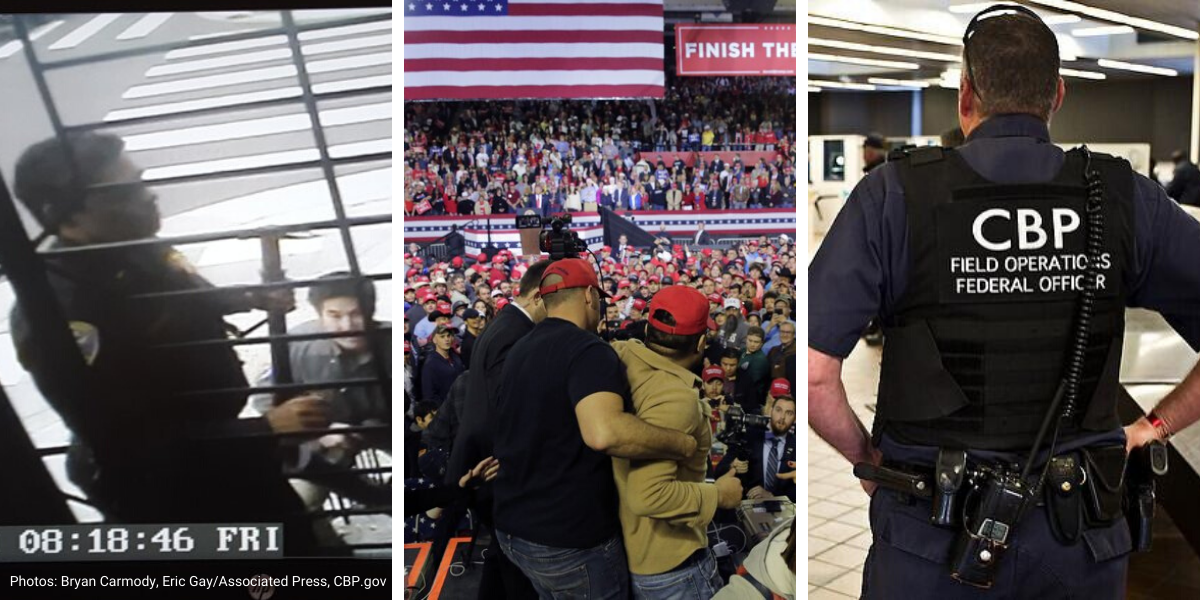 Photo collage showing Bryan Carmody raid, Trump rally and CBP officer
