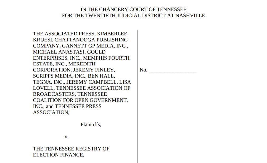 Cover page of AP v. Tennessee Registry of Election Finance lawsuit