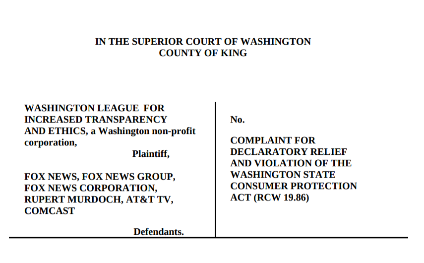 Screenshot of cover page of WASHLITE v. Fox News complaint