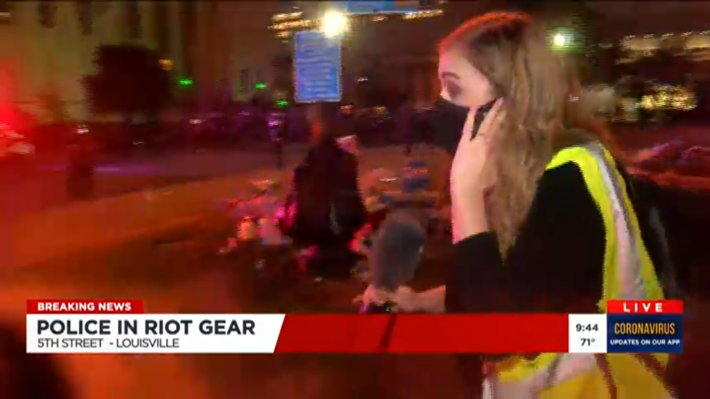 Screenshot of TV journalist being attacked - courtesy of WAVE 3