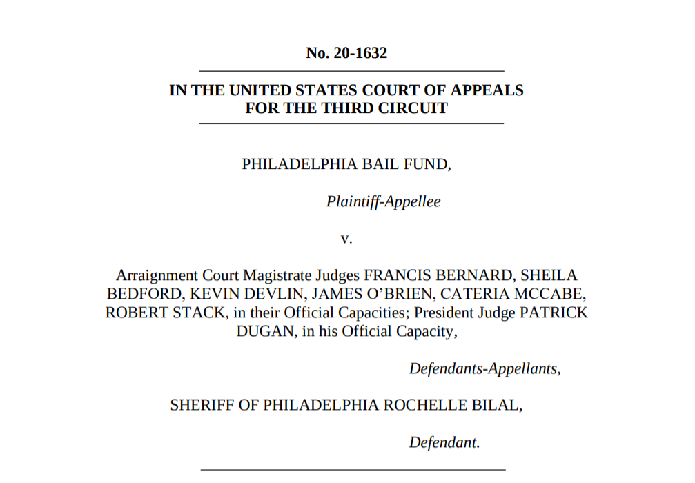 Cover page of RCFP amicus brief in Philadelphia Bail Fund v. Magistrate Judges