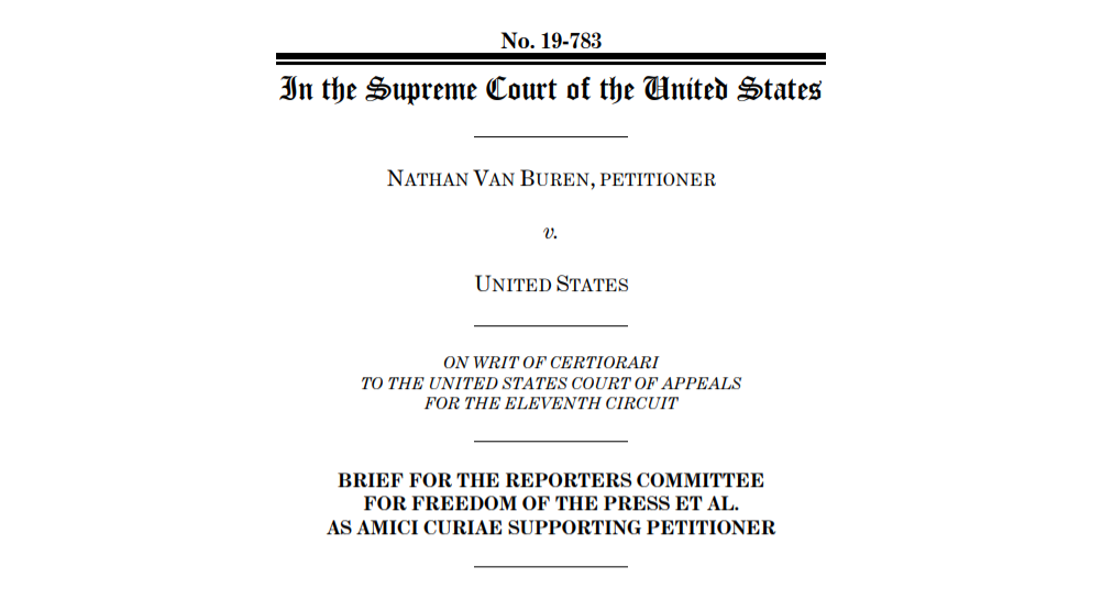 Screenshot of cover page of RCFP amicus brief in Van Buren v. United States