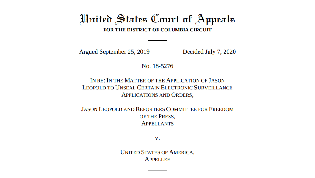 Screenshot of cover page of DC Circuit ruling in Leopold case