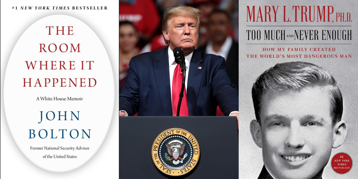 Photo collage of President Trump and book covers about president