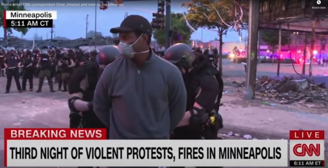 CNN screenshot of journalist being arrested during Minneapolis protests