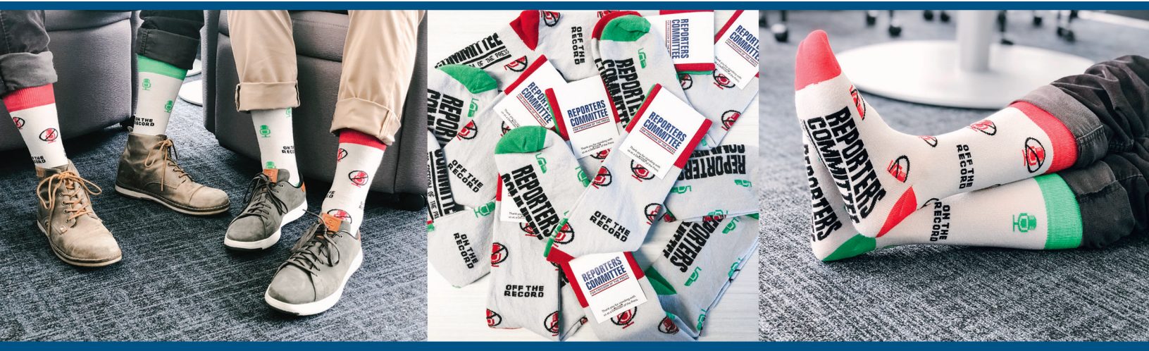 Three images showing the Reporters Committee on-the-record and off-the-record socks. The socks are available for free to new monthly donors.