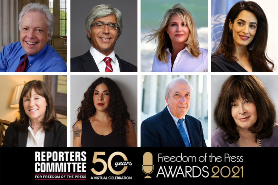 Images of Scott Applewhite, Ted Boutrous, Julie K. Brown, Amal Clooney, Jane Mayer, Laura Moscoso, Tony Mauro and Saundra Torry.